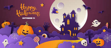 Happy Halloween party invitation with haunted house, pumpkins, ghosts, candy, bats in paper cut style on violet background. Vector illustration. 矢量图像