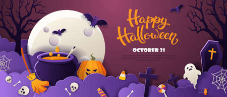 Halloween party invitation with full moon, pumpkin, ghost, cauldron, bats in paper cut style on violet background. Vector illustration. 矢量图像