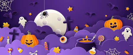Happy halloween greeting card template with full moon, pumpkins, ghosts, candy, bats in paper cut style on violet background. Vector illustration.