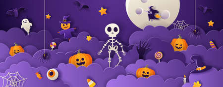 Happy halloween greeting card template with full moon, skeleton, pumpkins, ghost and candy in paper cut style on violet background. Vector illustration.
