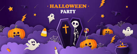 Halloween party invitation flyer with pumpkins, ghosts, skeleton, bats in paper cut style on violet background. Vector illustration. 矢量图像