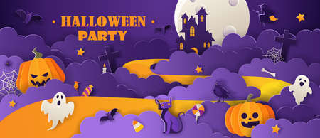 Happy Halloween party invitation with haunted house, pumpkins, ghosts, black cat, bats in paper cut style on violet background. Vector illustration.