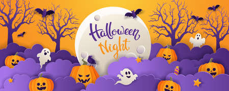 Halloween greeting card with full moon, pumpkins, ghosts, bats and candy in paper cut style on violet background. Vector illustration.