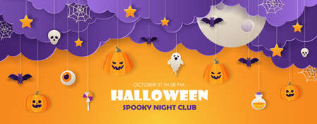 Happy halloween greeting banner with streamers in the shape of pumpkins, ghosts, candy, bats in paper cut style. Vector illustration.