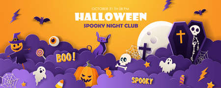Halloween party invitation flyer with full moon, pumpkin, ghost, skeleton, bats in paper cut style on violet background. Vector illustration.