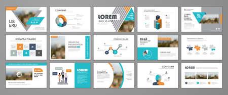 Presentation slide layout background. Blue and orange design brochure template. Use in presentation, flyer, leaflet, banner, corporate report, annual report, marketing, advertising. 矢量图像