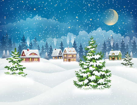 Evening village winter landscape with snow covered houses and christmas tree. Christmas holidays vector illustration Ilustración de vector