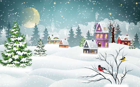 Vintage Christmas village houses covered with snow in a pine forest and bullfinches on a branch. Winter Christmas landscape
