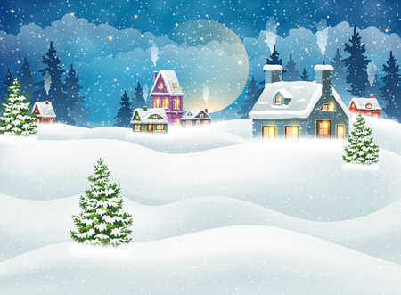 Evening winter village landscape with snow covered houses. Christmas holidays vector illustration