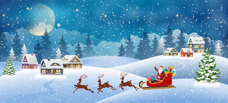Christmas landscape with snow-covered houses and Santa Claus in sleigh. Christmas Holiday village scene vector illustration 矢量图像