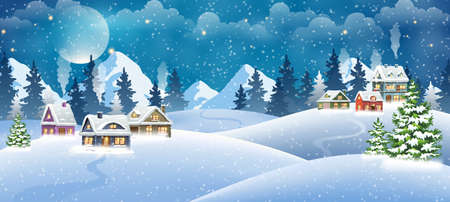 Christmas village houses with winter pine forest and mountains. Christmas holidays vector illustration