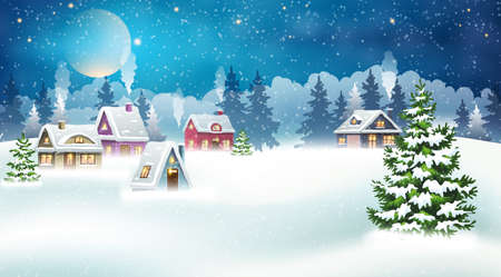 Evening village winter landscape with snow covered houses and christmas tree. Christmas holidays vector illustration