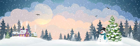 Winter village background with snow covered houses, pine forest and snowman with hat and scarf. Christmas holidays vector illustration 矢量图像