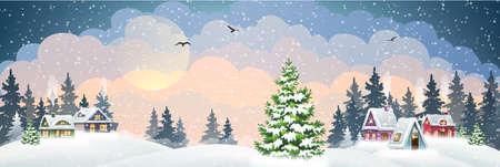 Winter village landscape with pine forest 矢量图像
