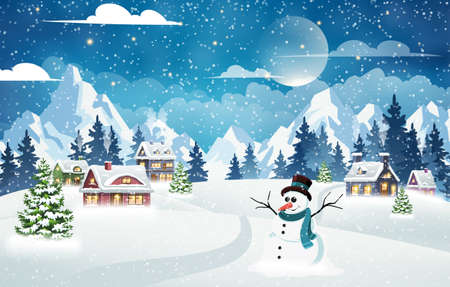Evening village winter landscape with snow covered houses, snowman and mountains. Christmas holidays vector illustration