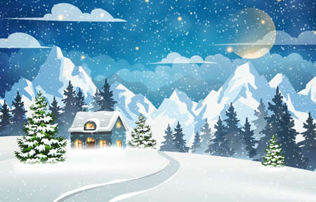House in a snowy forest with mountains in the background. Winter Night Scene. Christmas holidays vector illustration