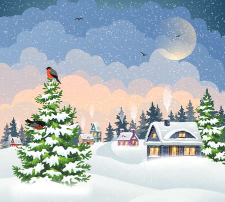 Winter village landscape with snow covered houses, Christmas tree and bullfinches. Christmas holidays vector illustration.