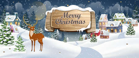 Winter Christmas Landscape Vector Background with snow covered hills, houses, reindeer in fir forest with wooden banner. Christmas holidays vector illustration 矢量图像