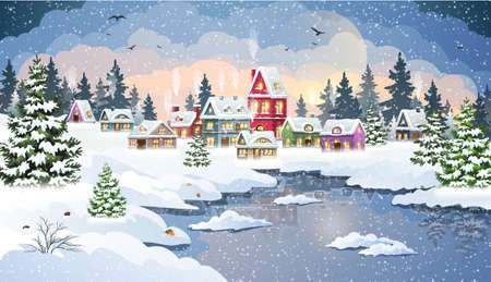 Winter Christmas landscape with snow-covered houses in a pine forest on the banks of a frozen river. Christmas holidays vector illustration.
