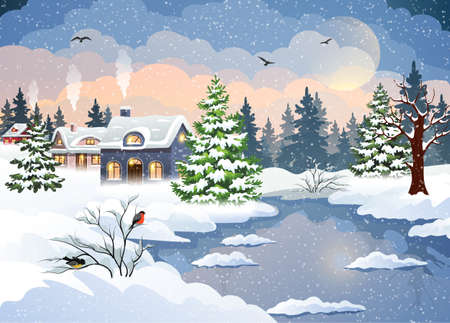 Winter village landscape vector background with snow covered houses, Christmas tree and frozen river. Christmas holidays vector illustration.