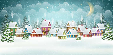 Evening winter village landscape with snow covered house. Christmas holidays vector illustration