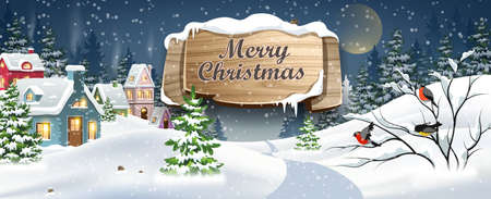 Winter Christmas Landscape Vector Background with snow covered hills, houses, in fir forest with wooden banner. Christmas holidays vector illustration