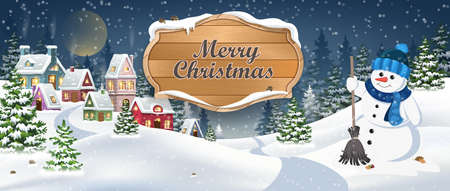 Winter Christmas Landscape Vector Background with snow covered hills, houses, snowman in fir forest with wooden banner. Christmas holidays vector illustration 矢量图像