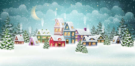 Christmas village houses with winter pine forest. Christmas holidays vector illustration