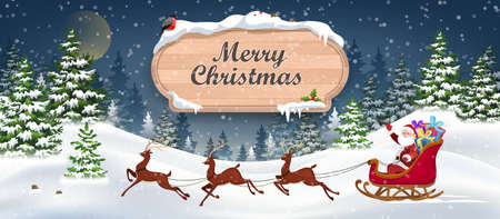 Santa and Reindeer on Christmas Background. Winter Christmas Landscape Vector Background with snow covered hills, pine forest with wooden banner.