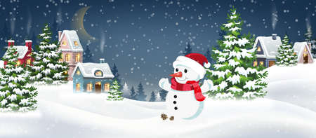 Winter Christmas Landscape Vector Background with snow covered hills, houses, snowman in fir forest. Christmas holidays vector illustration