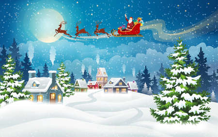 Christmas landscape with snow-covered houses and Santa Claus in sleigh with gifts. Christmas Holiday village scene vector illustration