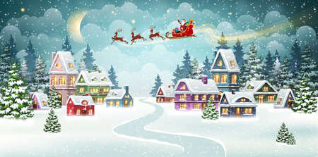 Santa and Reindeer on Christmas Background. Winter Christmas scene with snow covered houses and pine forest. Holiday Vector Background