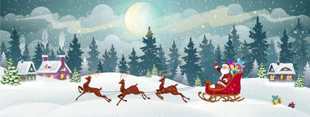 Santa in a sled harnessed by deer, carrying Christmas gifts. Christmas Holiday village scene vector illustration.