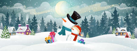 Snowmen with gifts on the background of a snowy forest and Christmas village houses. Christmas holidays vector illustration.
