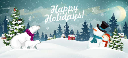 Snow covered hills, houses, snowmen and polar bears with Christmas tree. Winter Christmas Landscape Vector Background. Christmas holidays illustration