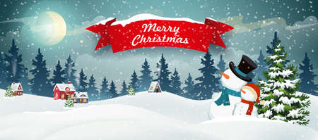 Snow covered hills, houses, snowman with Christmas tree. Winter Christmas Landscape Vector Background. Christmas holidays illustration 矢量图像