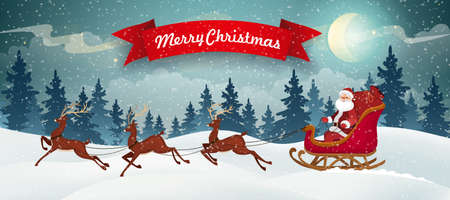 Santa in sleigh and reindeer on Christmas Background. Winter Christmas Landscape Vector Background with snow covered hills, pine forest with red banner.