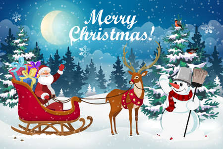 Christmas scene with Santa Claus in a sleigh with gifts, a deer and a snowman against the background of a snowy forest and Christmas trees. Winter Christmas Landscape Vector Background. 矢量图像