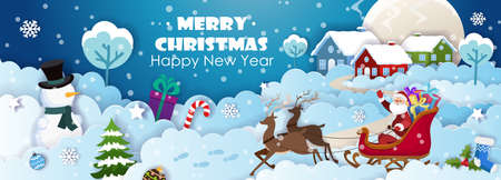 Santa Claus on sleigh with polar deers in harness. Snowman, Christmas tree and Christmas decorations on the background of houses on snowy hills. Paper cut Christmas and winter postcard template vector. 矢量图像