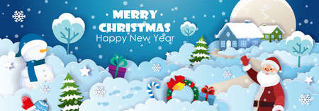 Santa Claus, Snowman, Christmas decorations on the background with houses and Christmas trees on the snowy hills. Origami Paper art of Christmas and New Year party. Vector background.
