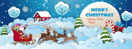 Santa Claus on sleigh with polar deers in harness. Christmas tree and Christmas decorations on the background of house on snowy hills. Paper cut Christmas and New Year postcard template vector.
