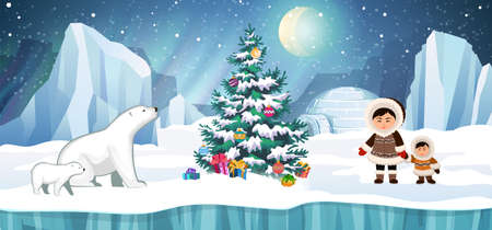 Arctic people in traditional eskimos costume and polar bears with Christmas tree. Igloo, glacier and northern lights in the background. Christmas holidays vector illustration.
