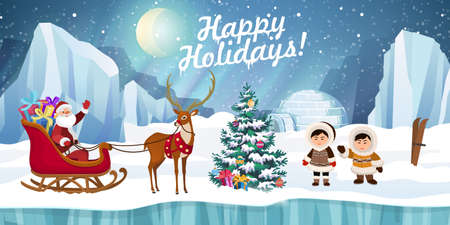 Santa Claus in a sleigh with gifts, deer and arctic people in traditional eskimos costume with Christmas tree. Christmas holidays vector illustration.