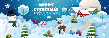Origami paper art of Snowman, Reindeer and Christmas Trees with Christmas Gifts. Winter landscape with houses and snowy hills. Vector illustration 矢量图像
