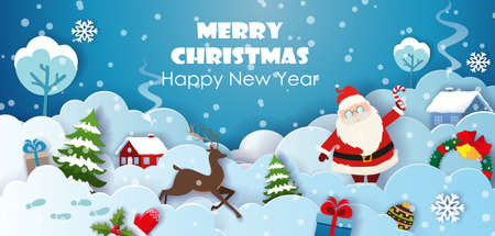 Santa, reindeer, Christmas trees and Christmas decorations on the background of houses on snowy hills. Paper cut Christmas and winter postcard template vector. 矢量图像