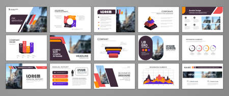 Abstract presentation slide templates. Infographic elements template set for web, print, annual report brochure, business flyer leaflet marketing and advertising template. Vector Illustration 矢量图像