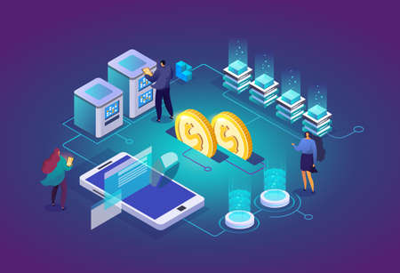 Working group in data center room. Computer data storage and crypto farming workstation. Network mainframe infrastructure background. Data analysis concept website layout. Vector isometric. 矢量图像