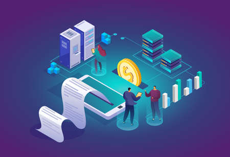 Team of technicians in data center room. Computer data storage and crypto farming workstation. Network mainframe infrastructure background. Data analysis concept website layout. Vector isometric.