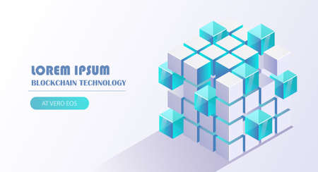Blockchain technology vector illustration with cube block link to chain background, financial technology, cloud computing, distribution, mining pool concept.