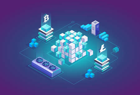 Mining Bitcoin and Litecoin crypto currency in isometric 3d design. Cryptocurrency exchange vector illustration